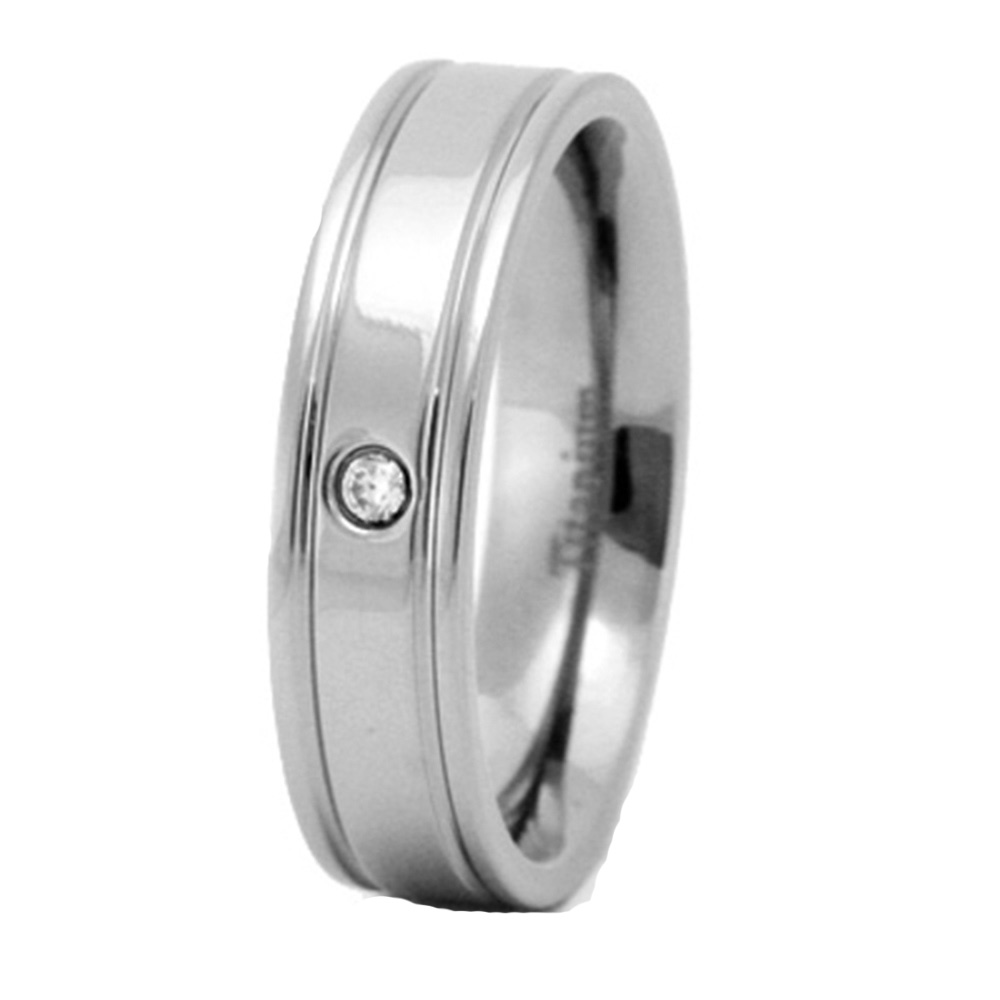 Titanium Grooved Edge 6mm Mens Wedding Ring Size 9