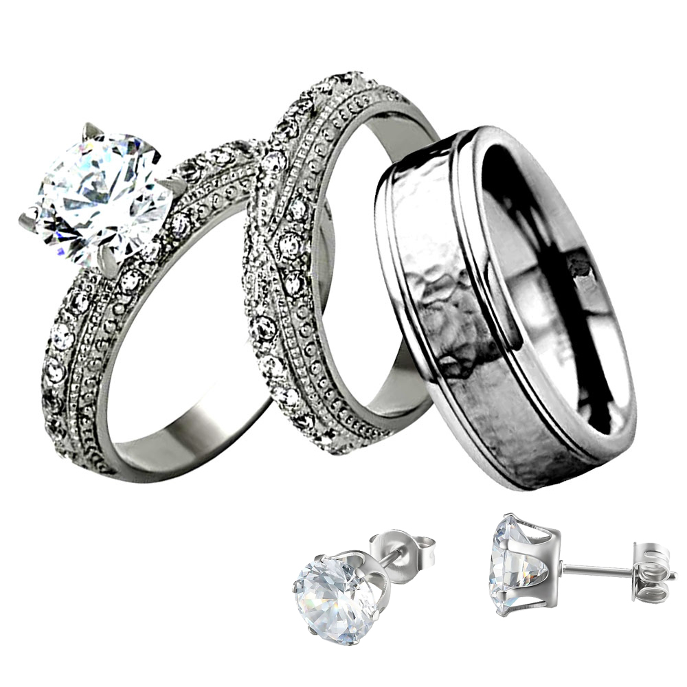 9b23bf0b9fca4 Details about Stainless Steel Titanium His Hers Wedding Ring Set Round CZ +  Stud Earrings fj