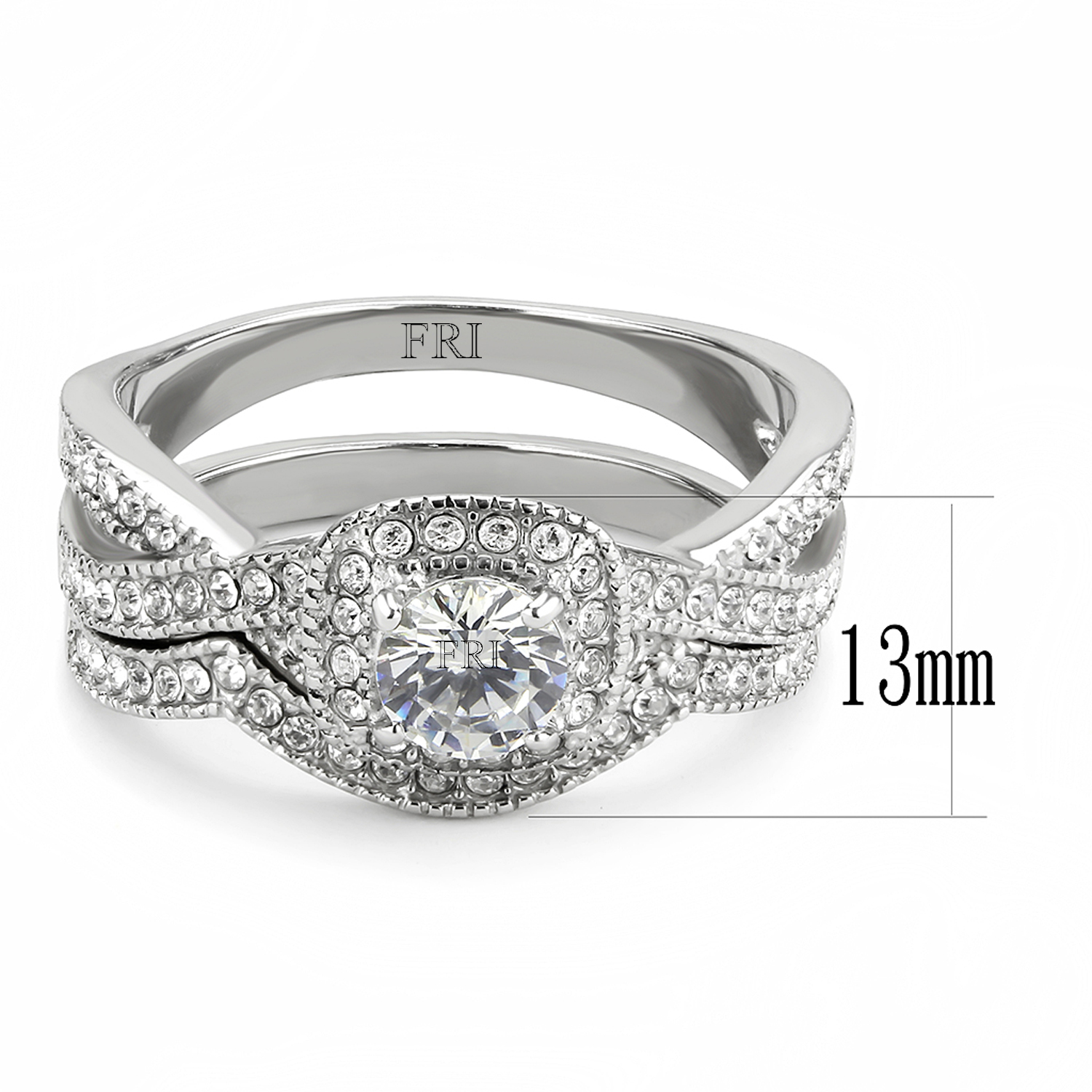 Stainless-Steel-Women-039-s-Infinity-Wedding-Ring-Set-Halo-Round-Cut-Cubic-Zirconia thumbnail 12