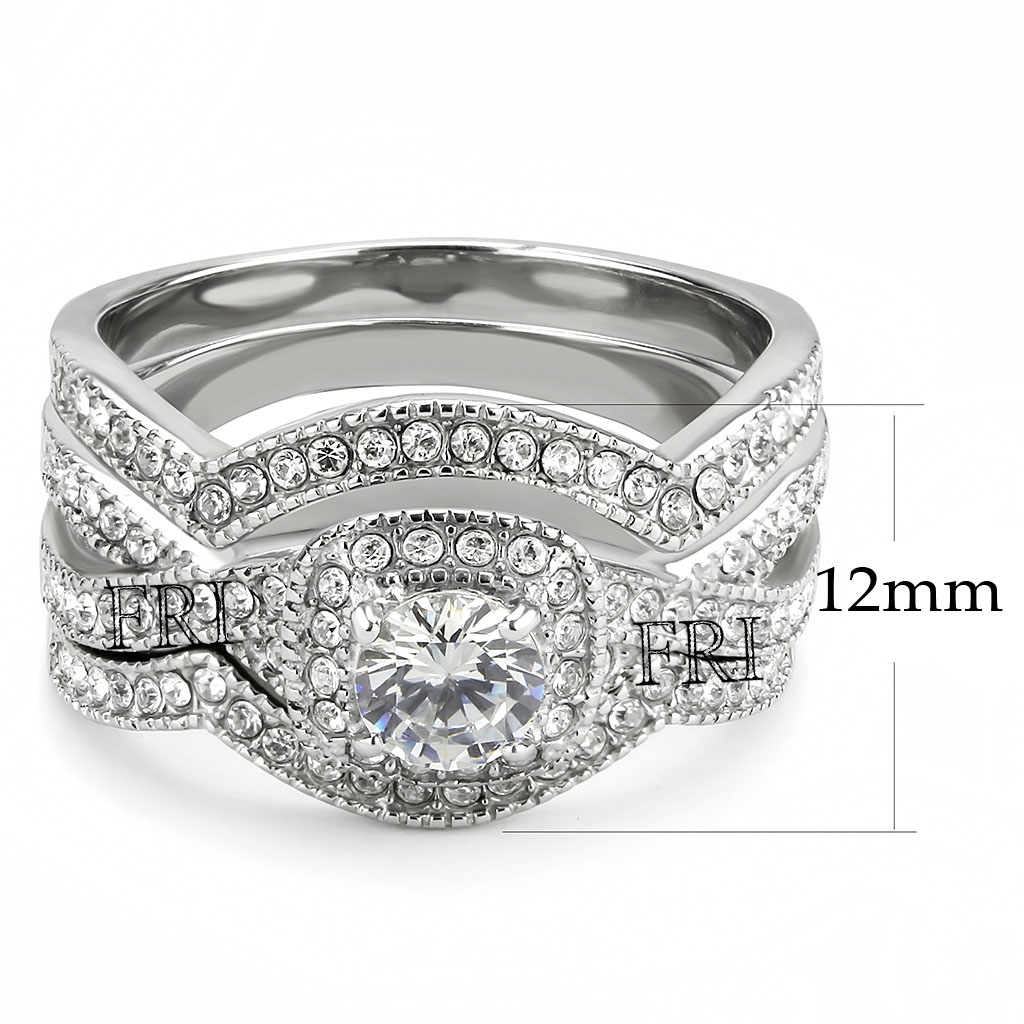 Stainless-Steel-Women-039-s-Infinity-Wedding-Ring-Set-Halo-Round-Cut-Cubic-Zirconia thumbnail 16