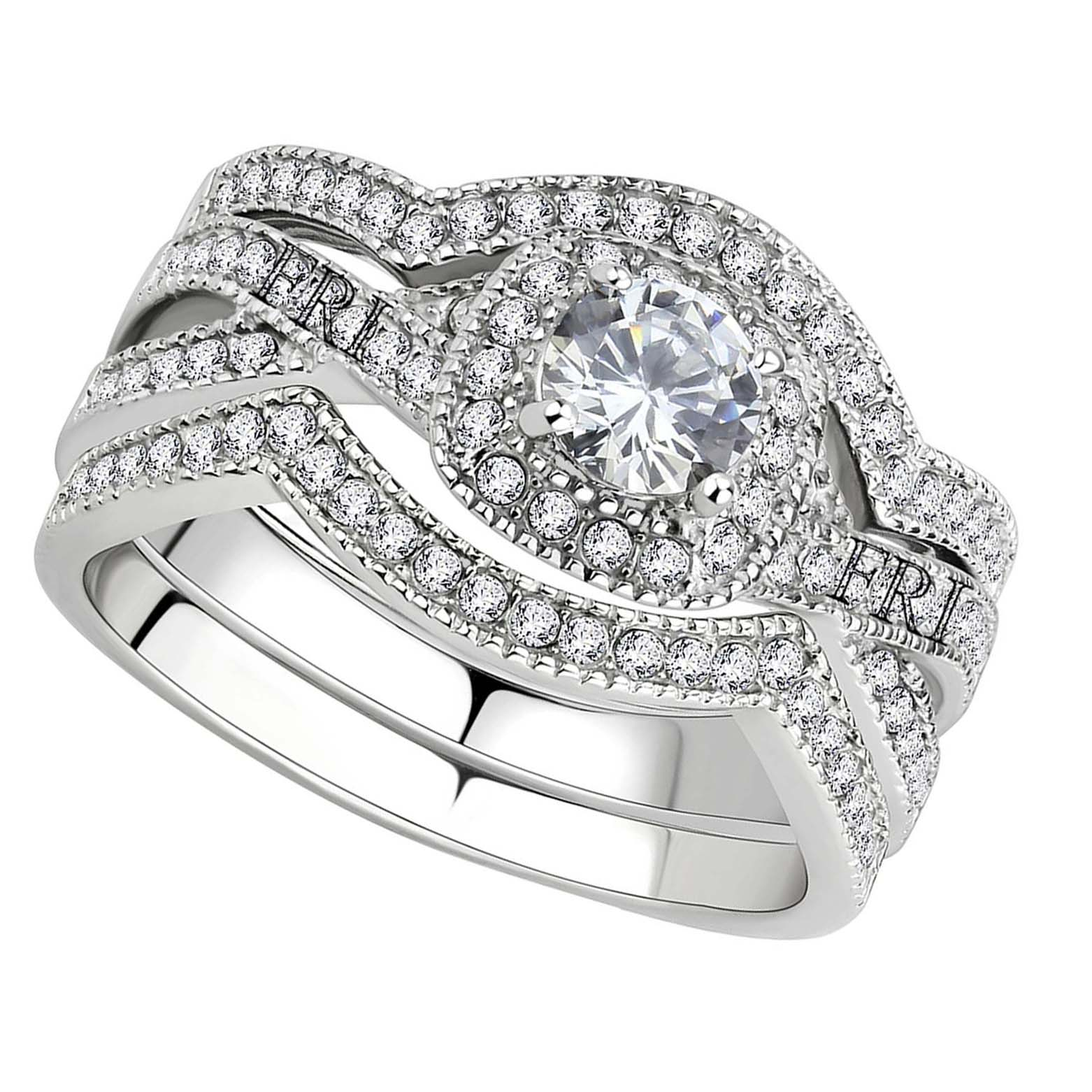 Stainless-Steel-Women-039-s-Infinity-Wedding-Ring-Set-Halo-Round-Cut-Cubic-Zirconia thumbnail 15