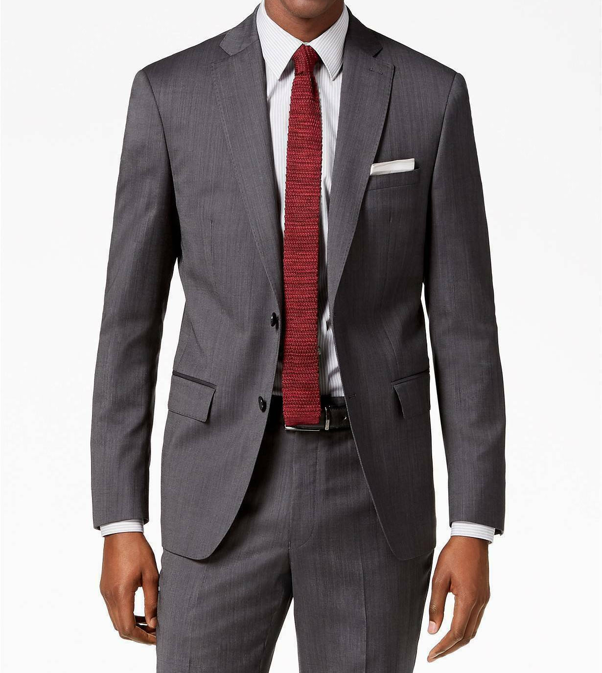 Men/'s Wool Cashmere Sharkskin Suit Giorgio Cosani Two Button 901 Gray Modern fit