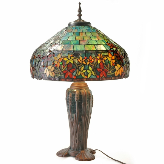 style 30 5 hampstead stained glass table lamp w mosaic base ebay. Black Bedroom Furniture Sets. Home Design Ideas