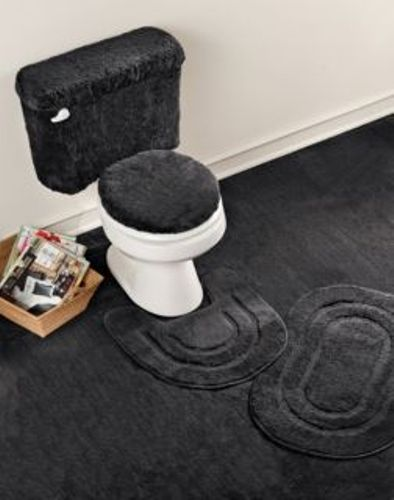 5 Piece Basic Bath Rug Set - Black