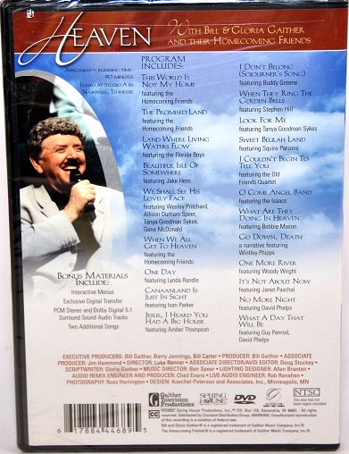 Details about Heaven with Bill Gloria Gaither DVD