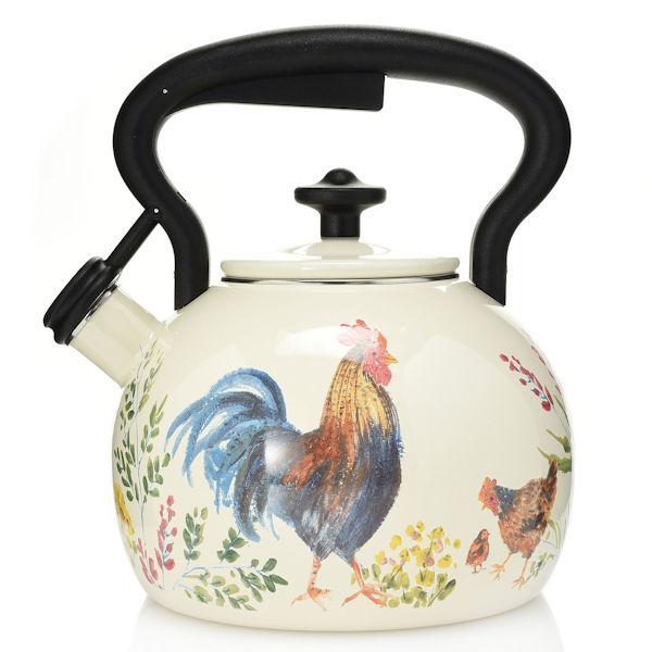 Paula Deen Rooster 2 Qt Enameled Steel Tea Kettle W Whistling Lid Ebay