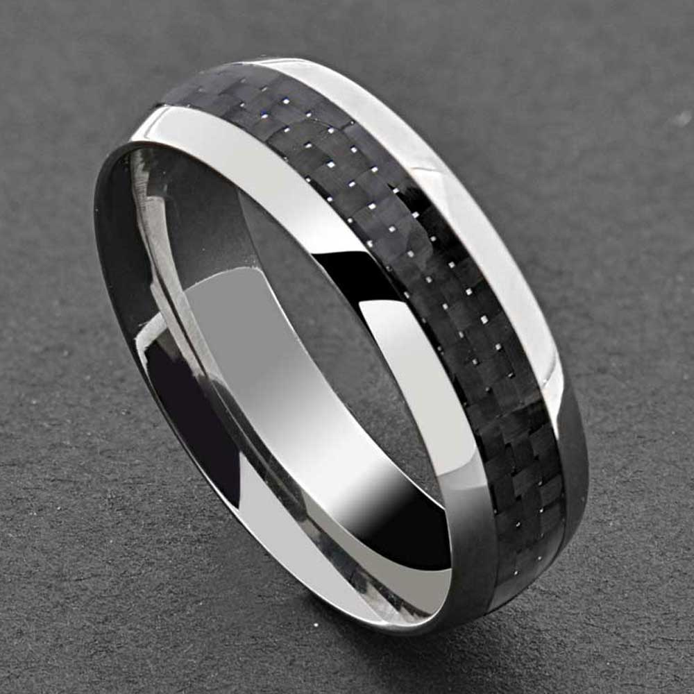Titanium Black Carbon Fiber Stripe Comfort Fit Men's