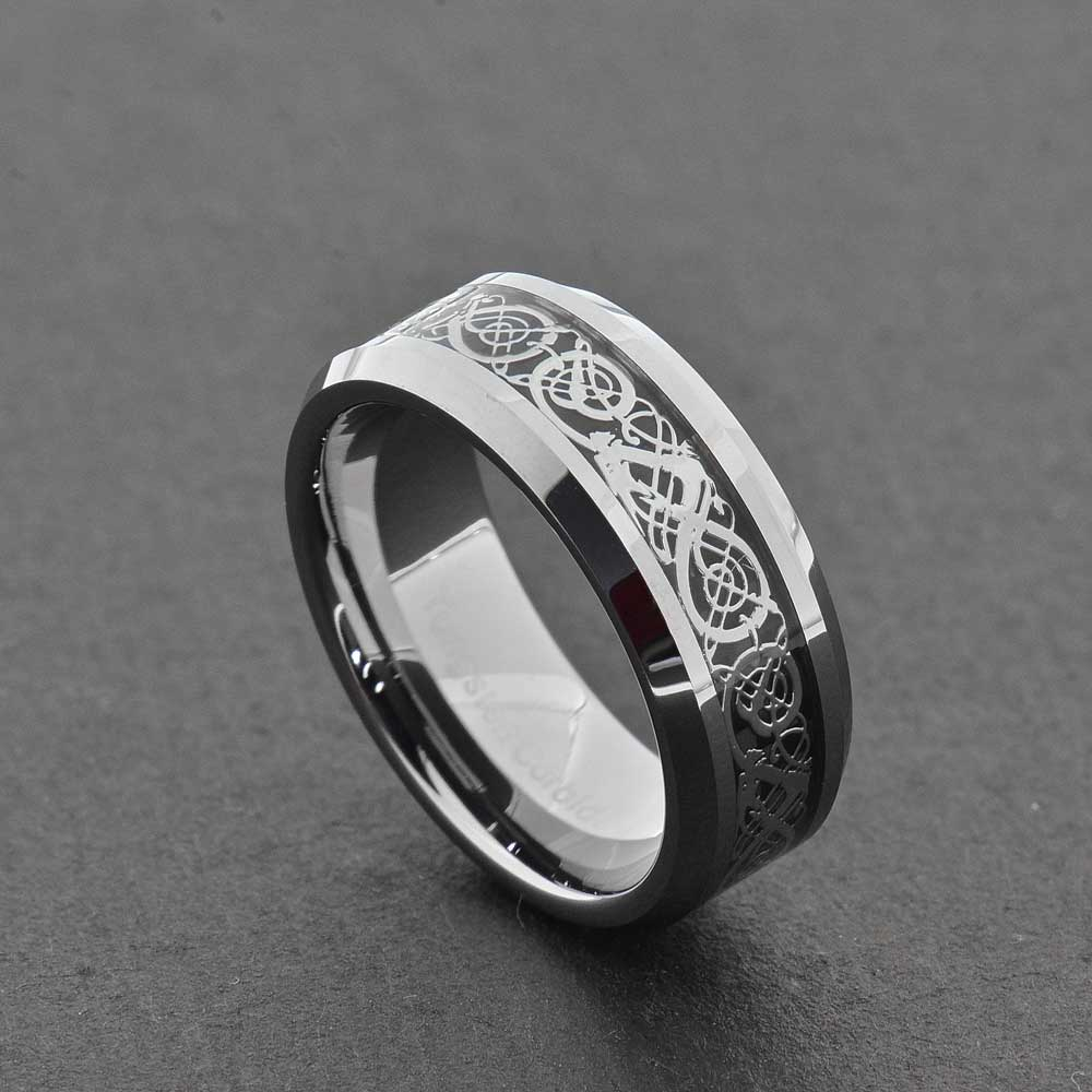 Tungsten Dragon Celtic Scroll Inlay Ring Wedding Band Gold Silver