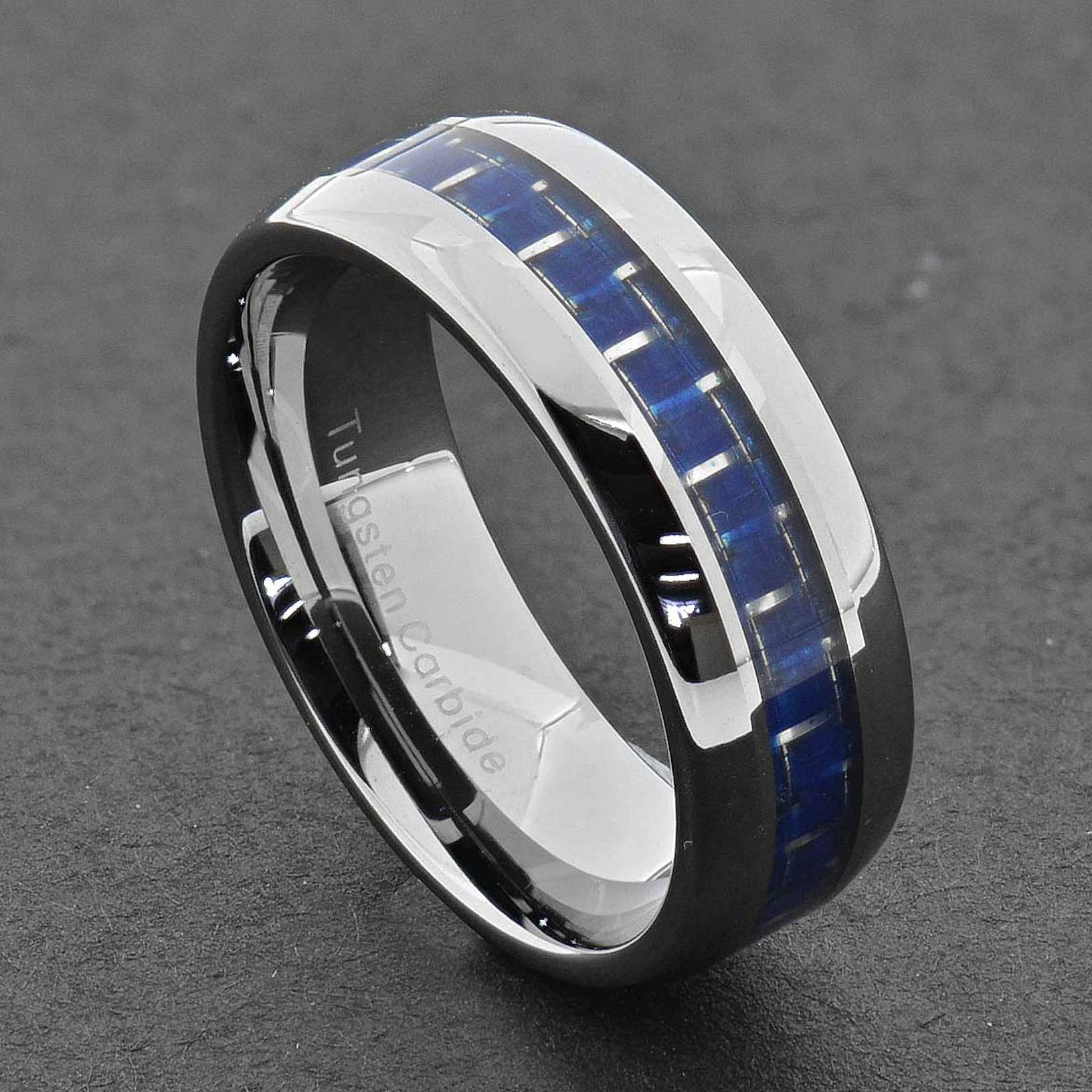 tungsten carbide ring comfort fit wedding band men silver blue black cabon fiber ebay. Black Bedroom Furniture Sets. Home Design Ideas