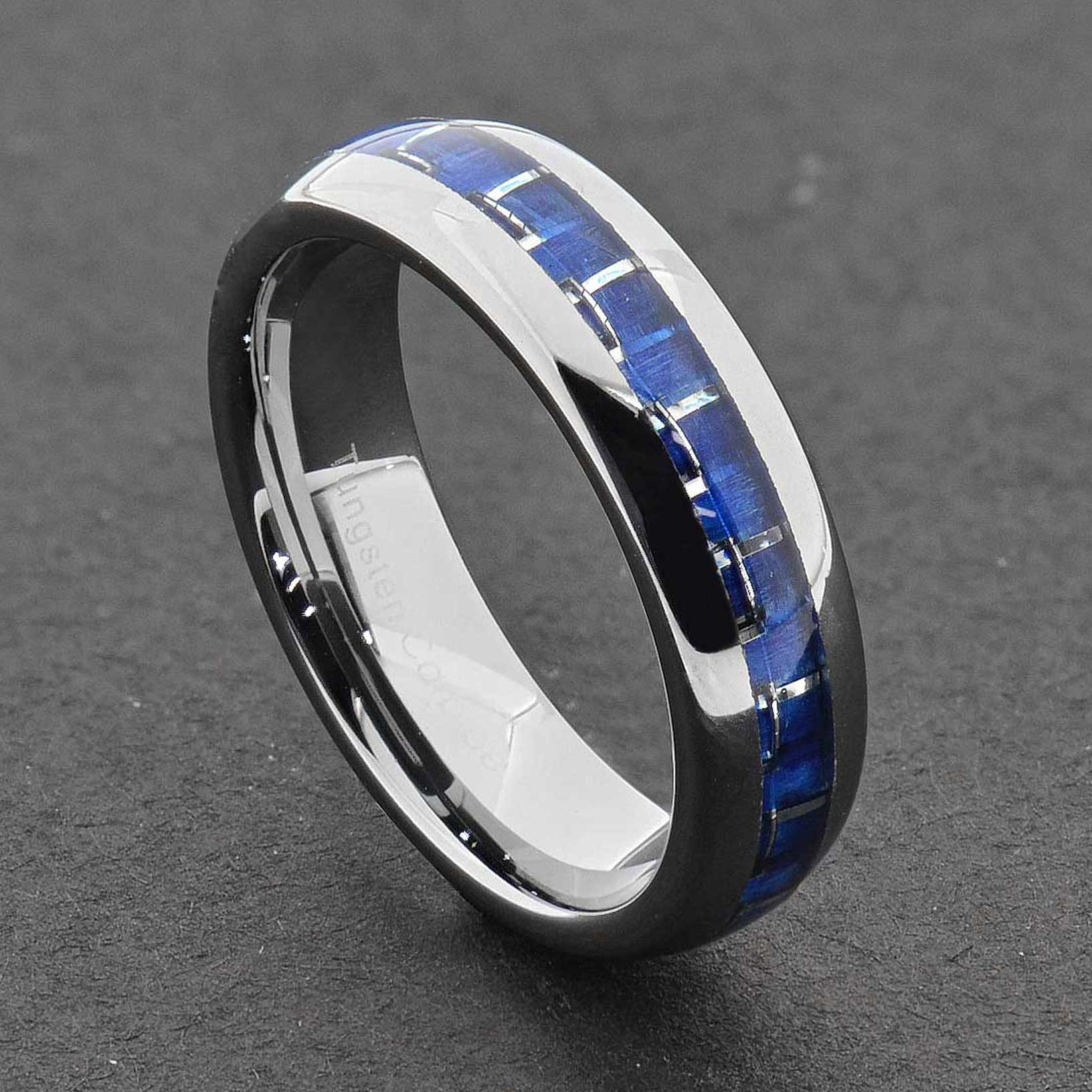 Tungsten Carbide Ring fort Fit Wedding Band Men Silver Blue