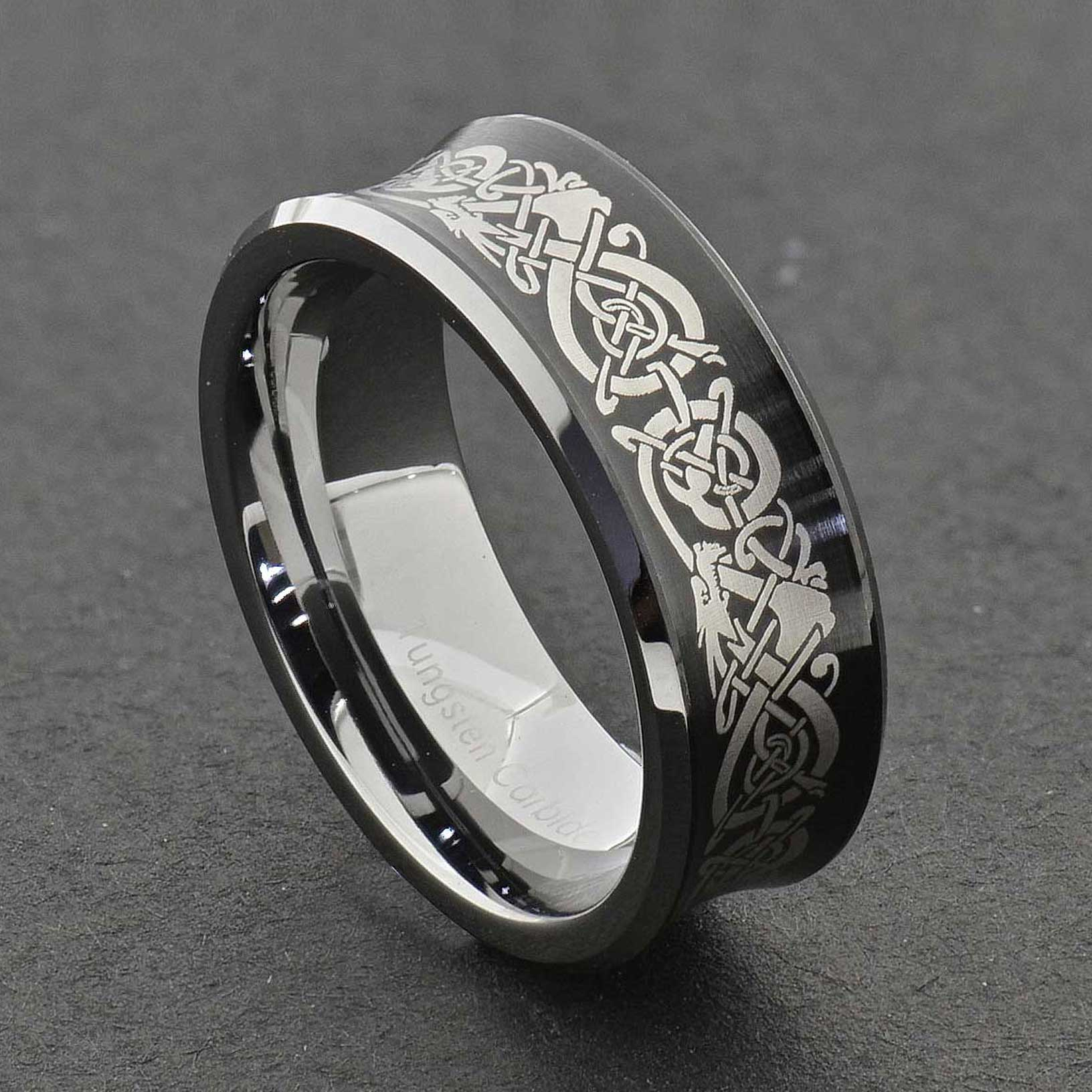 Tungsten Dragon Celtic Scroll Inlay Ring Wedding Band Gold