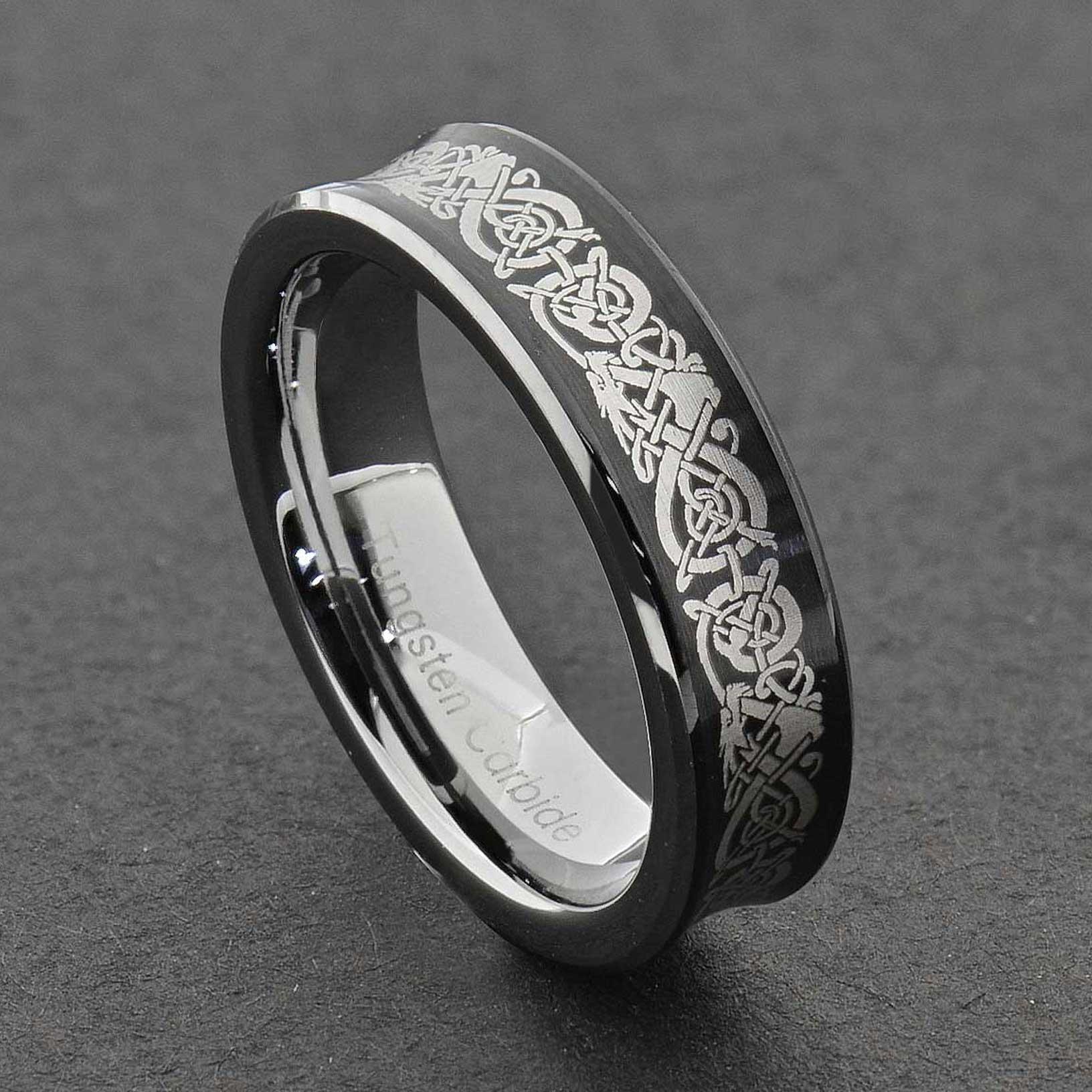 Tungsten Dragon Celtic Scroll Inlay Ring Wedding Band Gold Silver