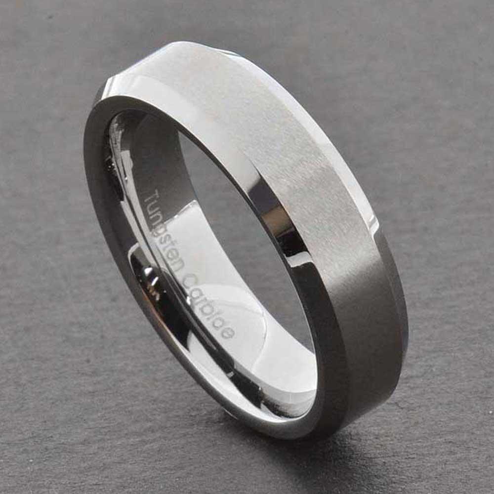 Tungsten Carbide Ring Comfort Fit Wedding Band Men Silver ...