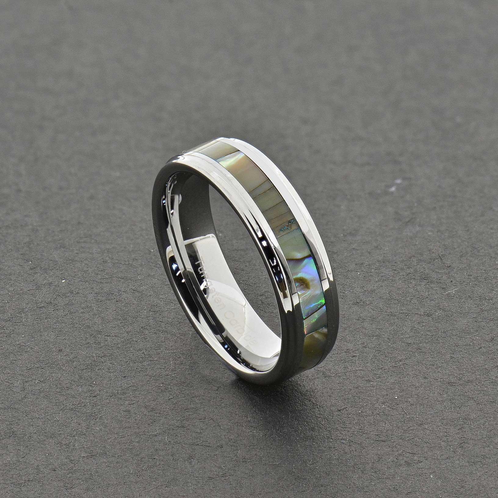 stunning tungsten abalone stripe inlaid wedding band ring sz 5 15