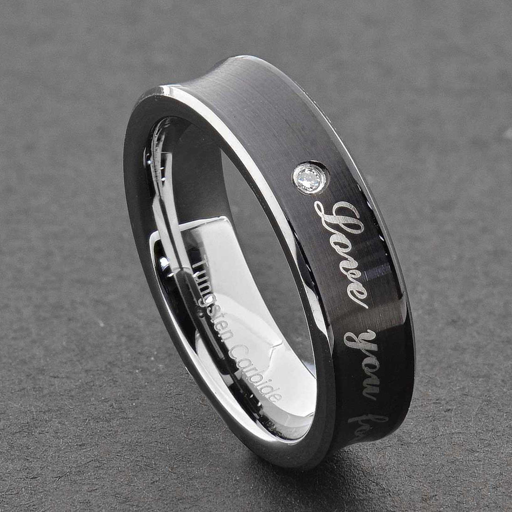 tungsten diamond men women wedding band ring black silver. Black Bedroom Furniture Sets. Home Design Ideas