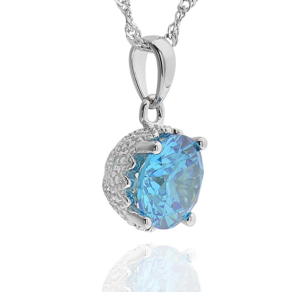 Aquamarine Necklaces: Sterling Silver 2.25Ct Created Aquamarine Solitaire