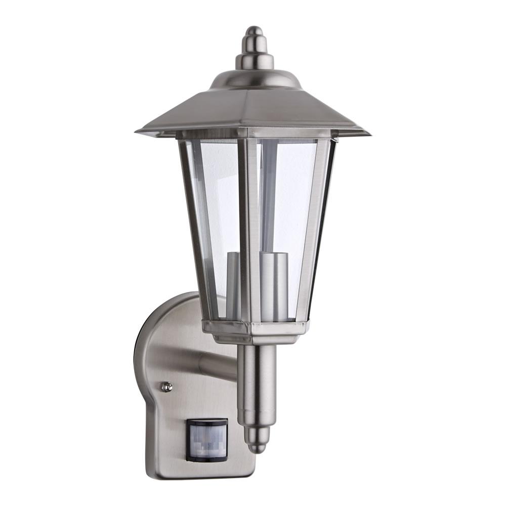 stainless steel modern outdoor wall lantern e27 with pir sensor no