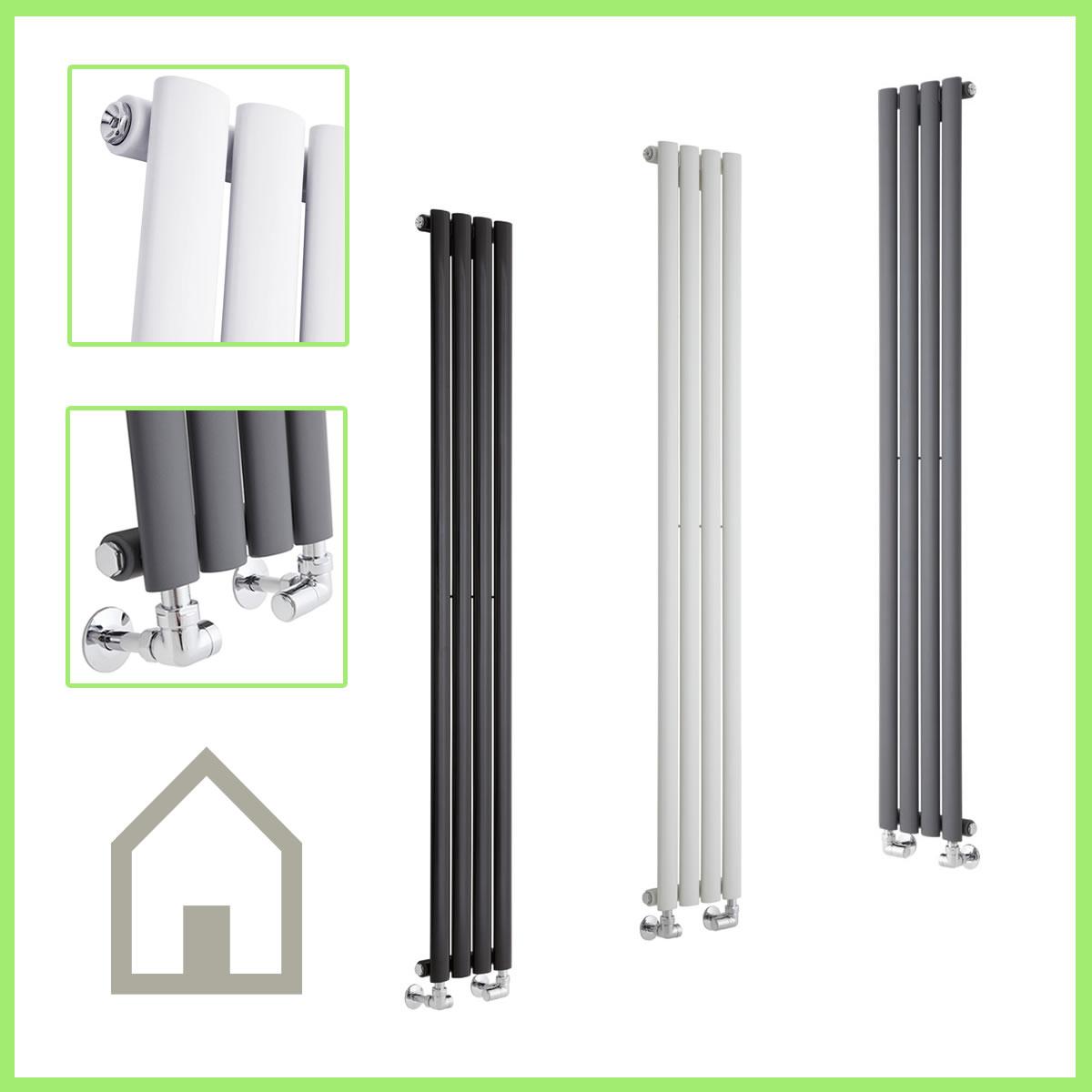 Slim Vertical Central Heating DESIGNER RADIATORS Narrow Tall Column ...
