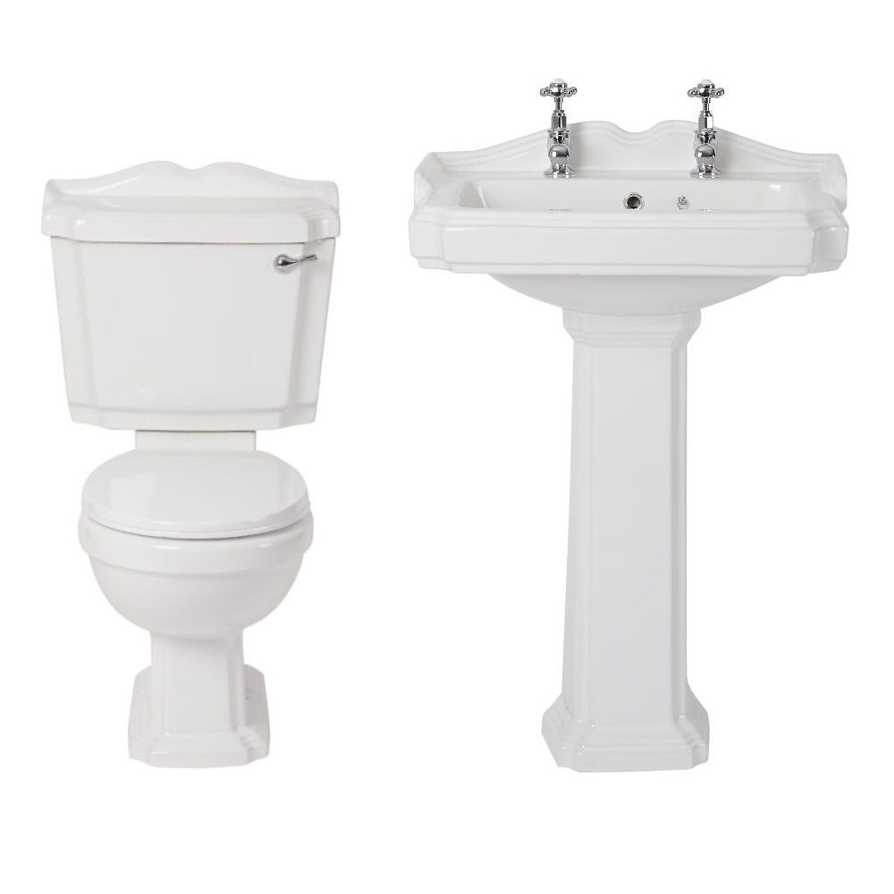 Traditional Bathroom Ceramic Basin Sink And Toilet Wc With Chrome Lever Set Ebay