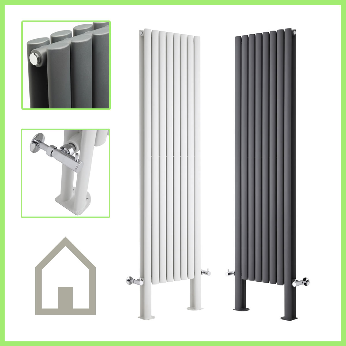 Vertical DESIGNER Radiator Oval Column Tall Upright Central Heating ...