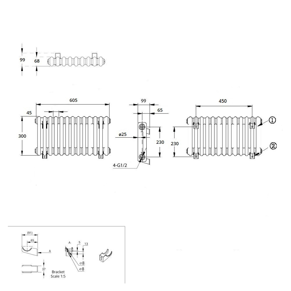 TRADITIONAL-RADIATORS-Vertical-amp-Horizontal-Column-Cast-Iron-Style-White-Rads-UK thumbnail 15