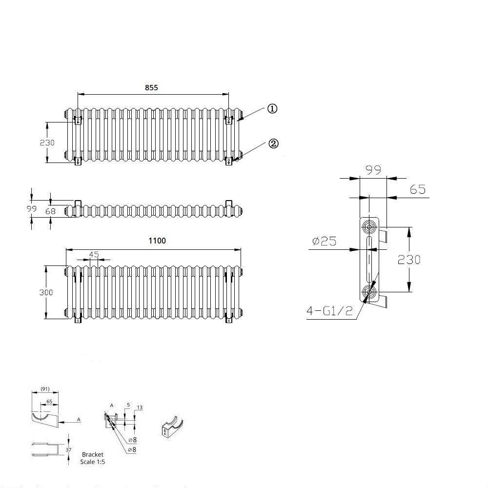 TRADITIONAL-RADIATORS-Vertical-amp-Horizontal-Column-Cast-Iron-Style-White-Rads-UK thumbnail 9