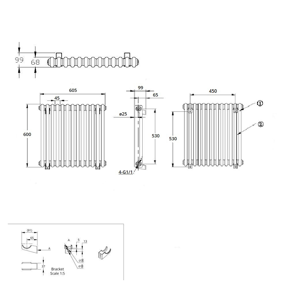 TRADITIONAL-RADIATORS-Vertical-amp-Horizontal-Column-Cast-Iron-Style-White-Rads-UK thumbnail 25