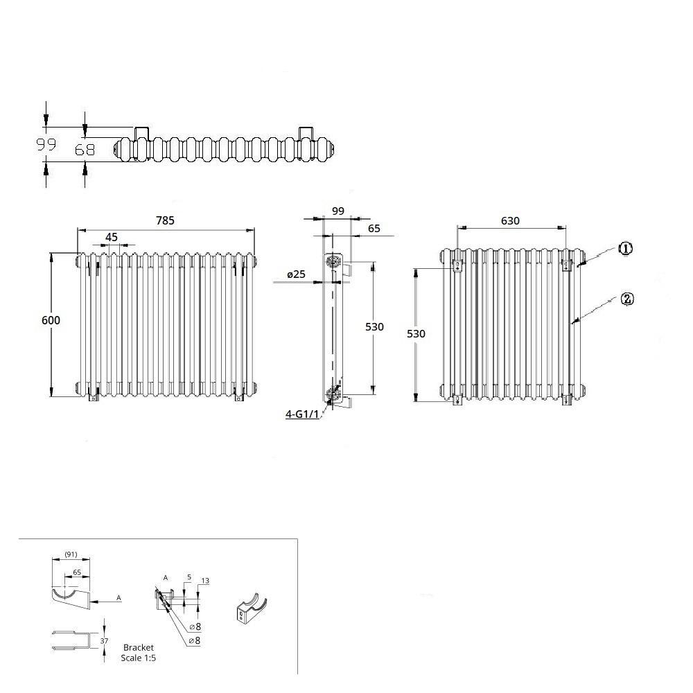TRADITIONAL-RADIATORS-Vertical-amp-Horizontal-Column-Cast-Iron-Style-White-Rads-UK thumbnail 27
