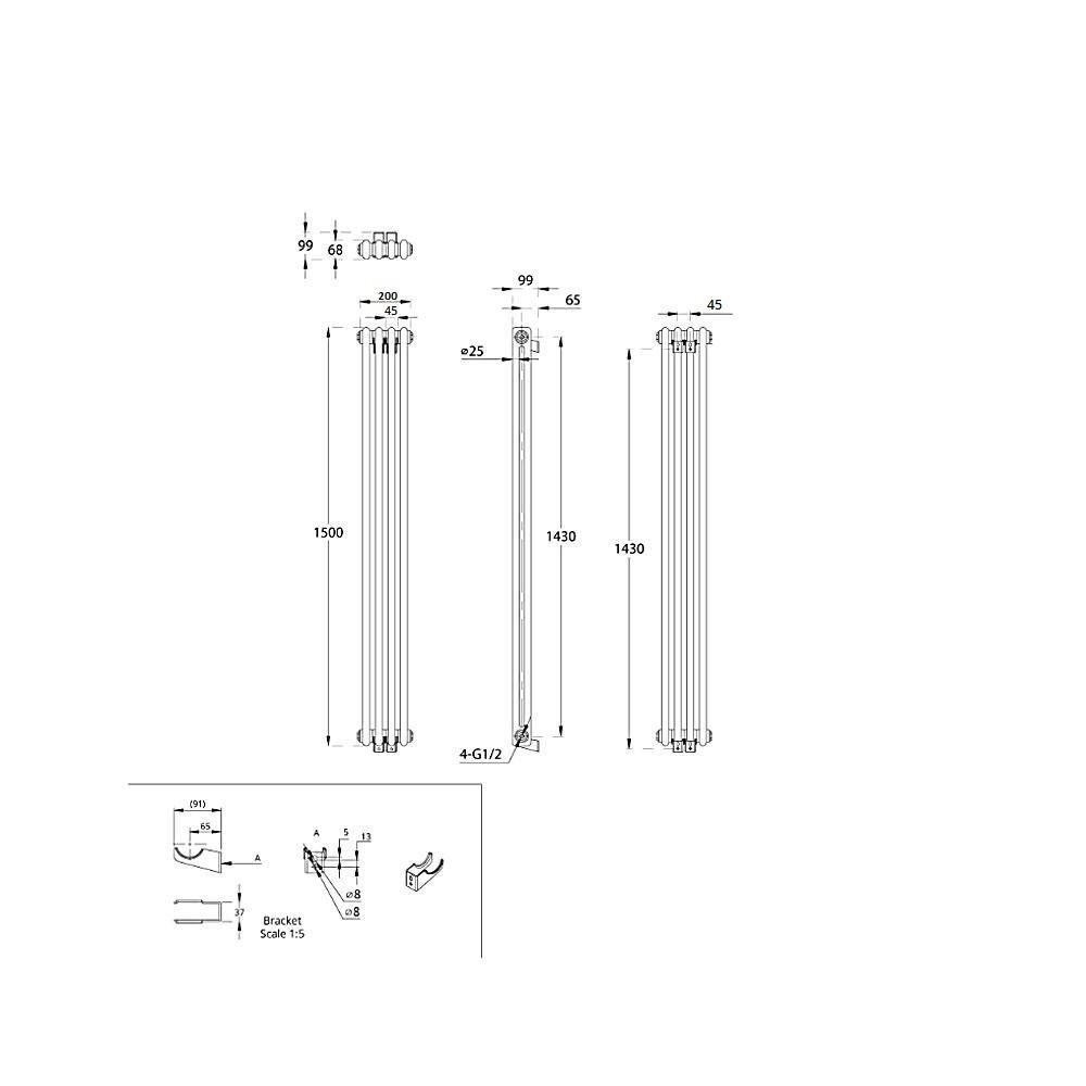 TRADITIONAL-RADIATORS-Vertical-amp-Horizontal-Column-Cast-Iron-Style-White-Rads-UK thumbnail 29