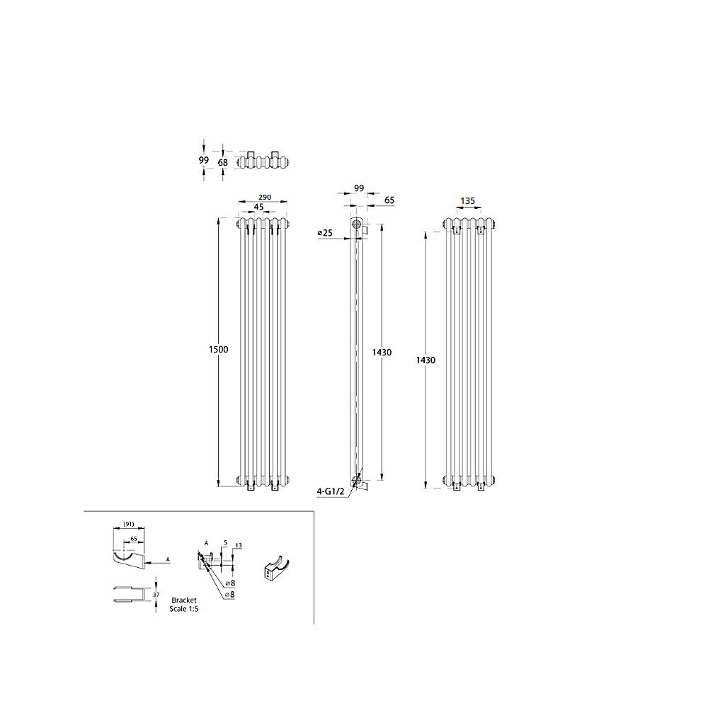TRADITIONAL-RADIATORS-Vertical-amp-Horizontal-Column-Cast-Iron-Style-White-Rads-UK thumbnail 31
