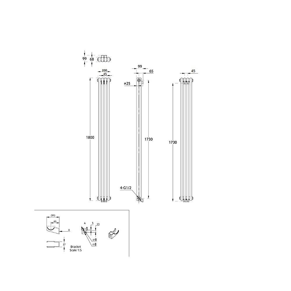 TRADITIONAL-RADIATORS-Vertical-amp-Horizontal-Column-Cast-Iron-Style-White-Rads-UK thumbnail 39
