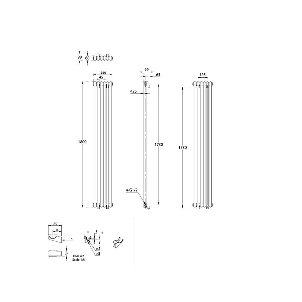 TRADITIONAL-RADIATORS-Vertical-amp-Horizontal-Column-Cast-Iron-Style-White-Rads-UK thumbnail 41