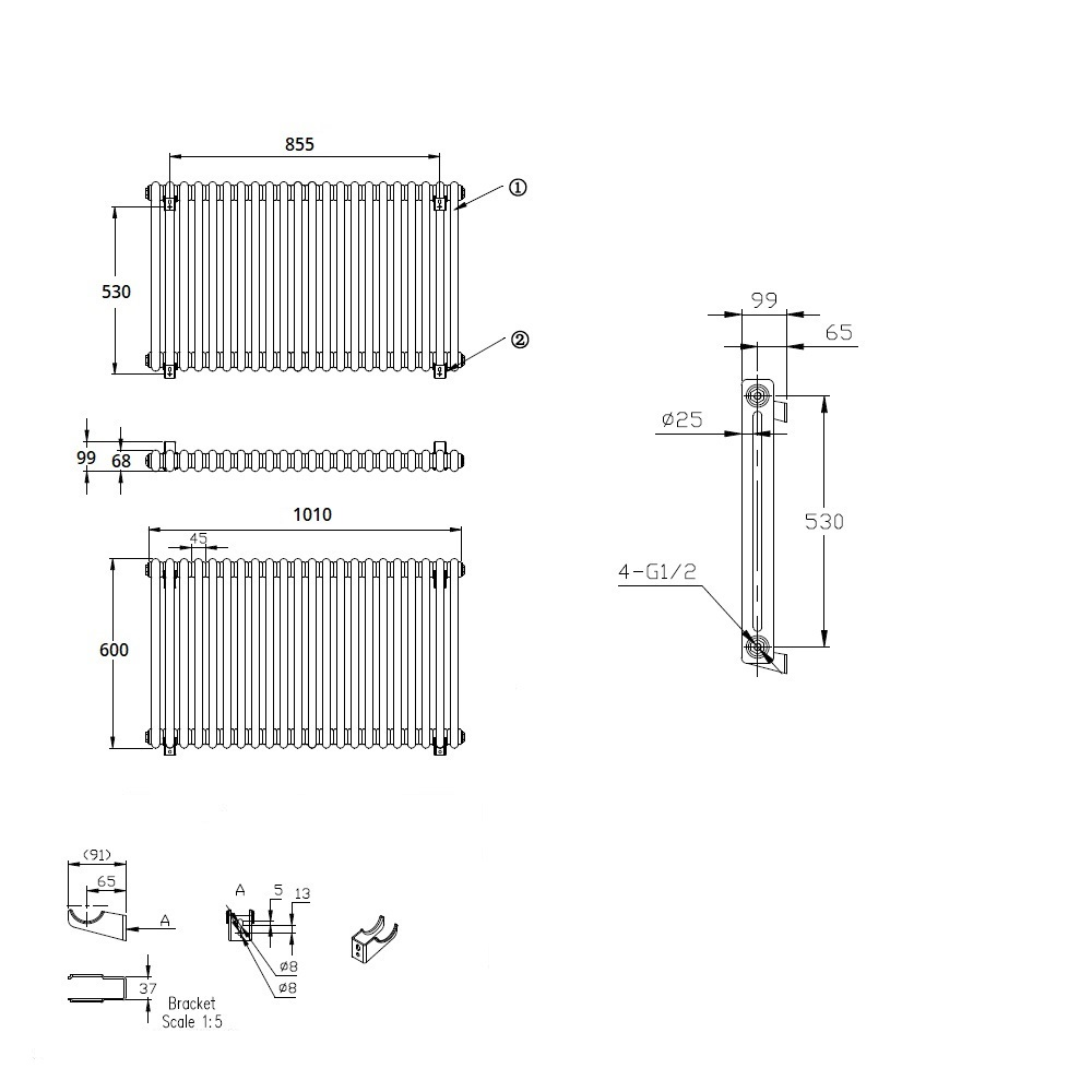 TRADITIONAL-RADIATORS-Vertical-amp-Horizontal-Column-Cast-Iron-Style-White-Rads-UK thumbnail 19