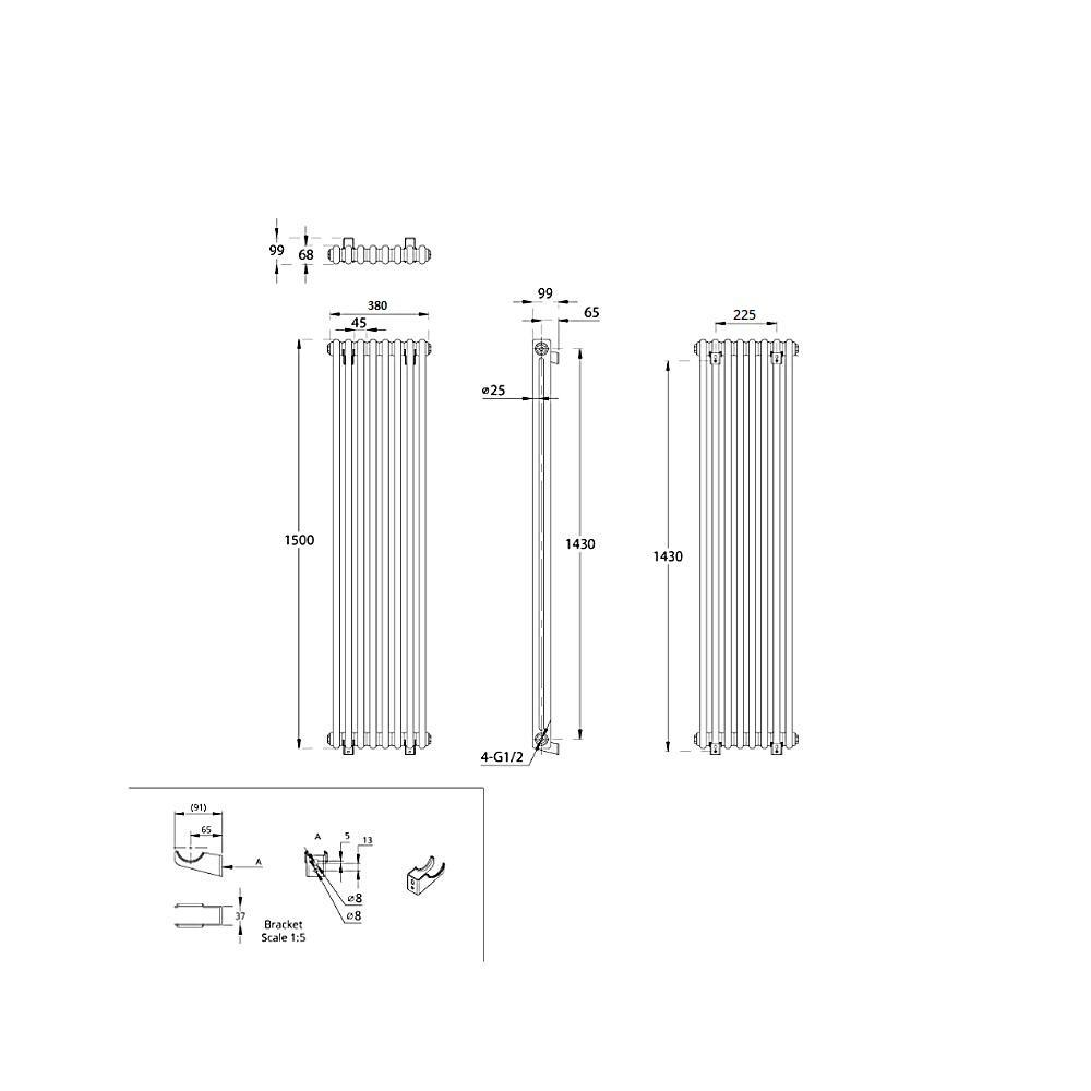 TRADITIONAL-RADIATORS-Vertical-amp-Horizontal-Column-Cast-Iron-Style-White-Rads-UK thumbnail 33