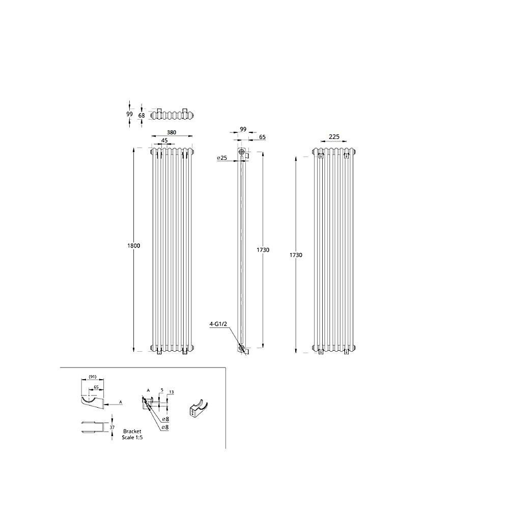 TRADITIONAL-RADIATORS-Vertical-amp-Horizontal-Column-Cast-Iron-Style-White-Rads-UK thumbnail 43