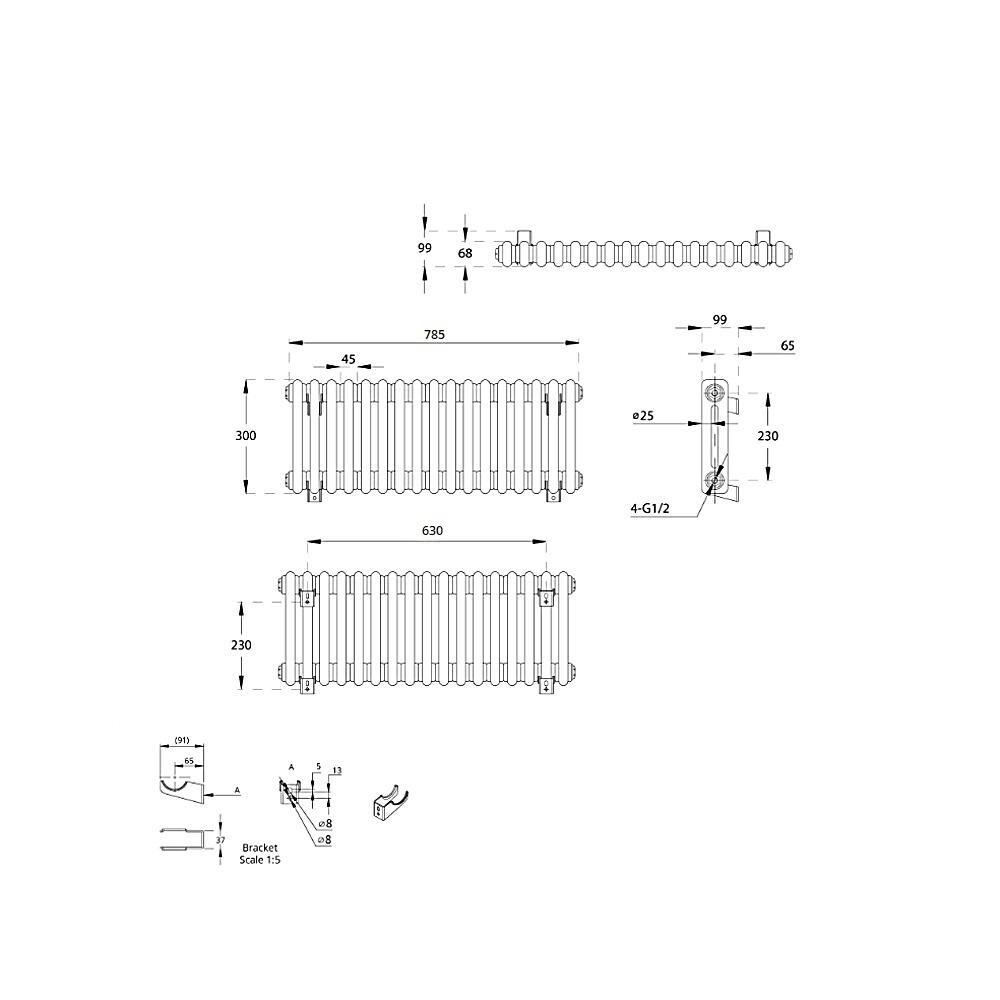 TRADITIONAL-RADIATORS-Vertical-amp-Horizontal-Column-Cast-Iron-Style-White-Rads-UK thumbnail 17
