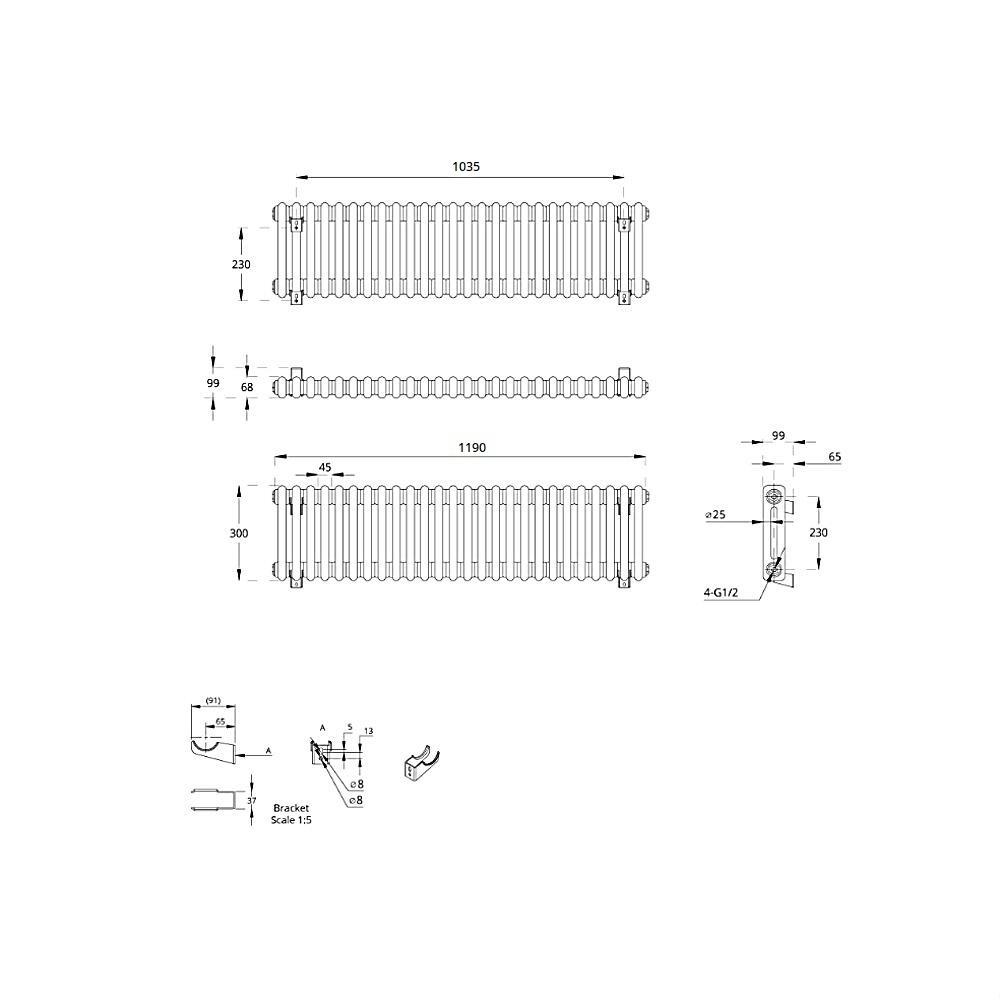 TRADITIONAL-RADIATORS-Vertical-amp-Horizontal-Column-Cast-Iron-Style-White-Rads-UK thumbnail 11
