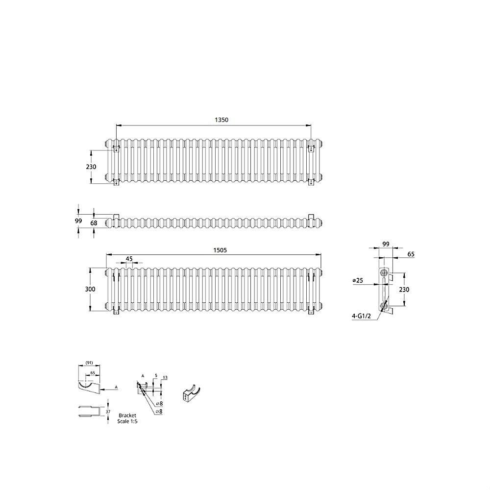 thumbnail 13 - TRADITIONAL RADIATORS Vertical & Horizontal Column Cast Iron Style White Rads UK