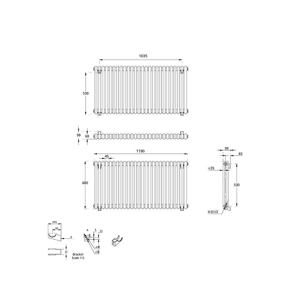 TRADITIONAL-RADIATORS-Vertical-amp-Horizontal-Column-Cast-Iron-Style-White-Rads-UK thumbnail 21