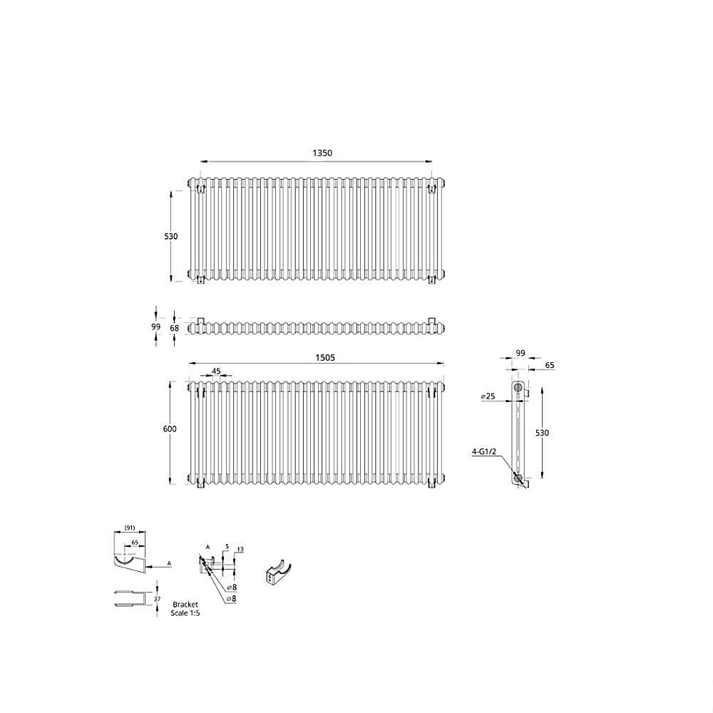 TRADITIONAL-RADIATORS-Vertical-amp-Horizontal-Column-Cast-Iron-Style-White-Rads-UK thumbnail 23