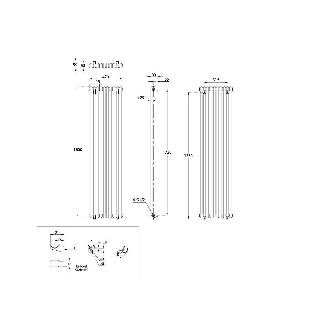TRADITIONAL-RADIATORS-Vertical-amp-Horizontal-Column-Cast-Iron-Style-White-Rads-UK thumbnail 45