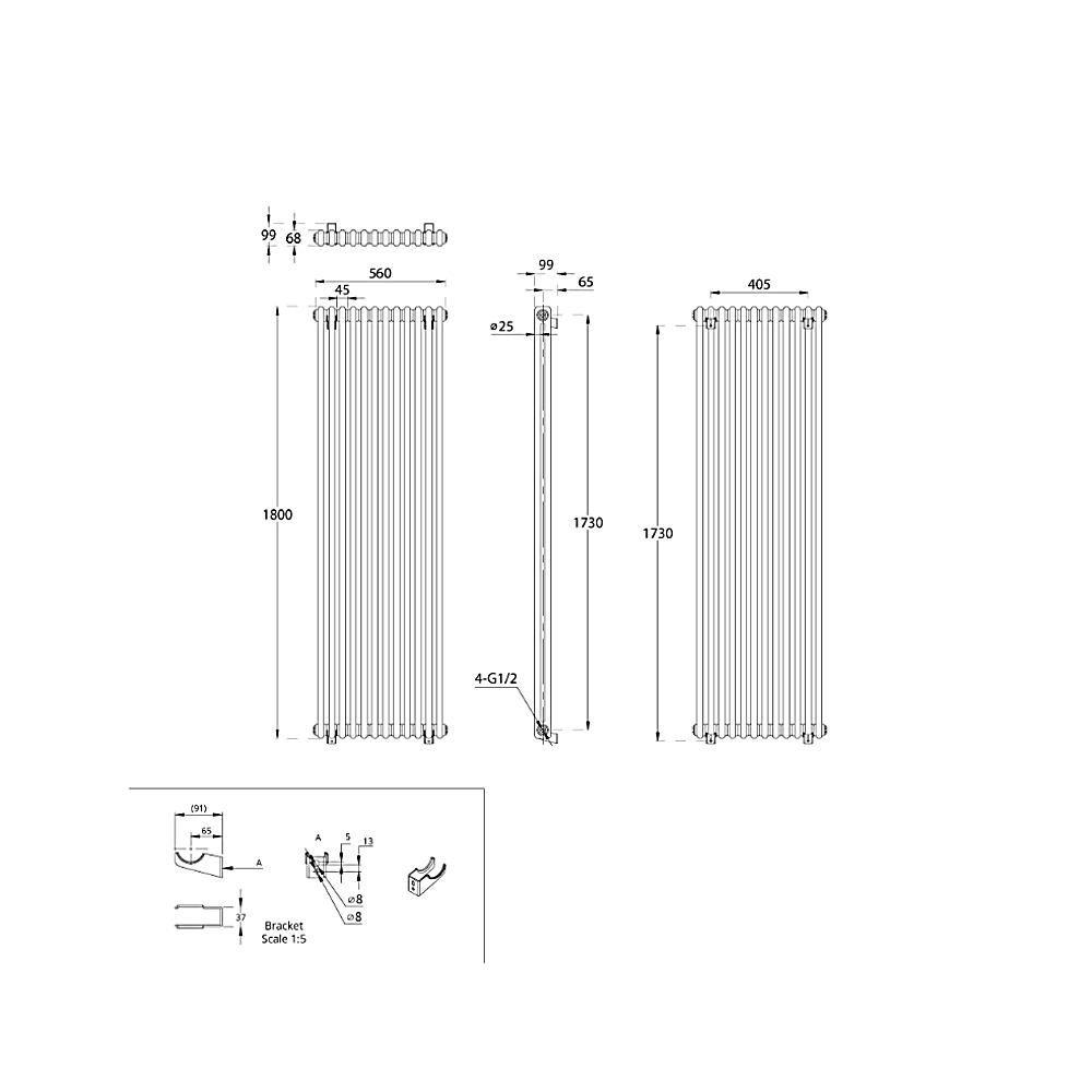 TRADITIONAL-RADIATORS-Vertical-amp-Horizontal-Column-Cast-Iron-Style-White-Rads-UK thumbnail 47