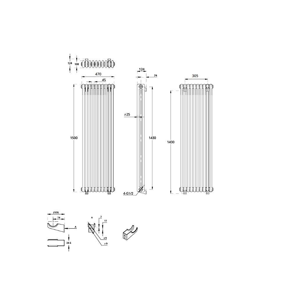 thumbnail 35 - TRADITIONAL RADIATORS Vertical & Horizontal Column Cast Iron Style White Rads UK