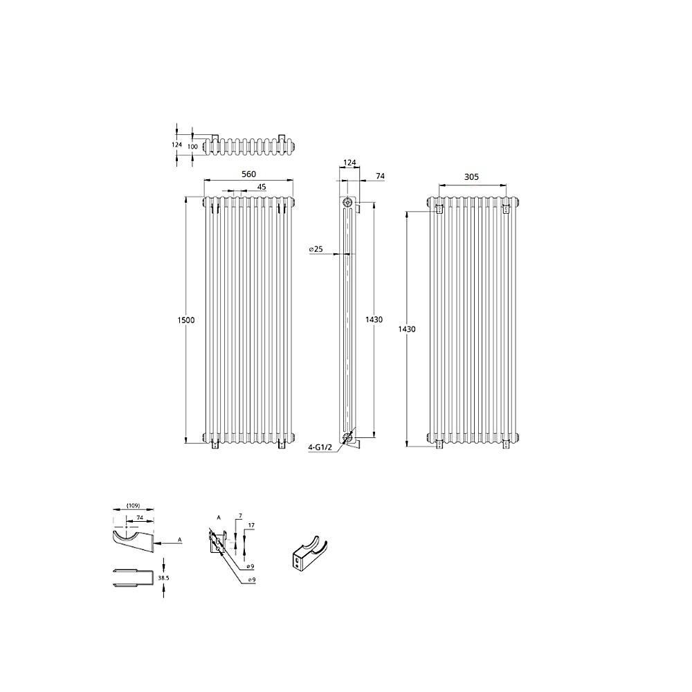 TRADITIONAL-RADIATORS-Vertical-amp-Horizontal-Column-Cast-Iron-Style-White-Rads-UK thumbnail 37