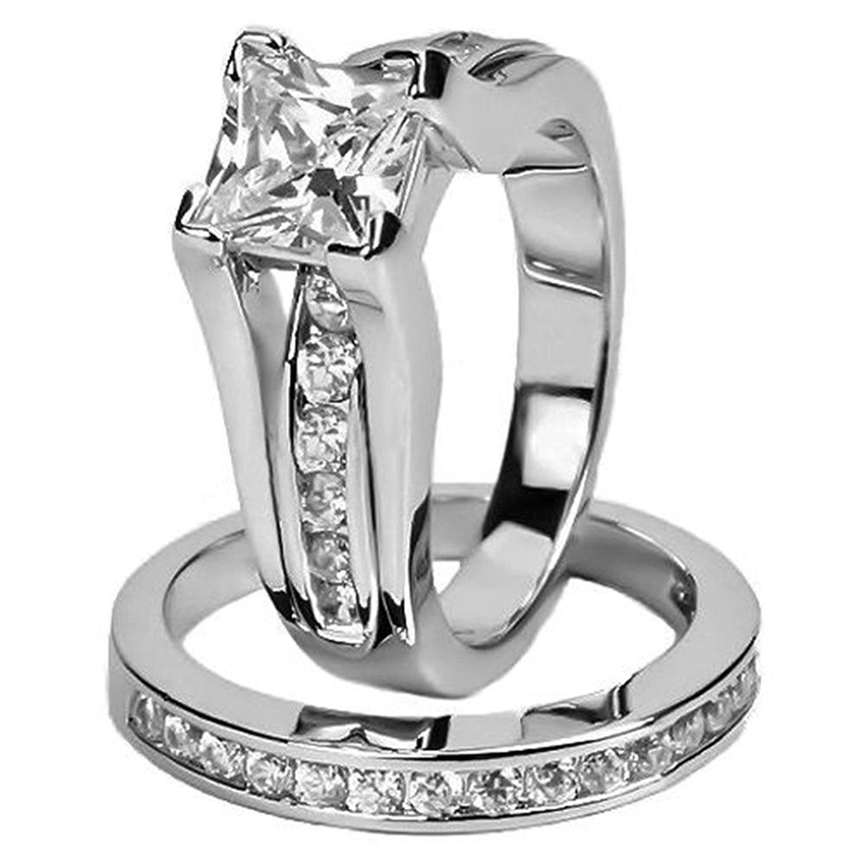 3.2 Ct Princess Cut AAA CZ teel Wedding Ring Set Women/'s Size 5-11