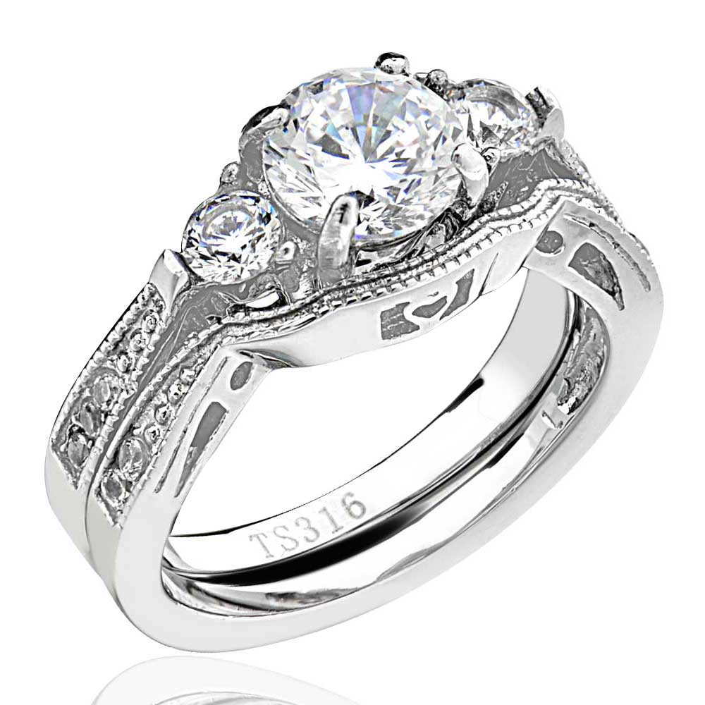 2-50-Ct-Round-Cut-AAA-CZ-Stainless-Steel-Wedding-Band-Ring-Set-Women-039-s-Size-5-11 thumbnail 13