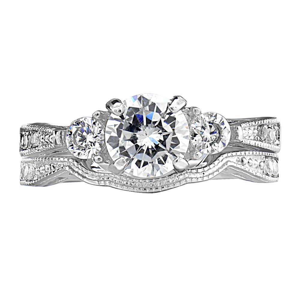 2-50-Ct-Round-Cut-AAA-CZ-Stainless-Steel-Wedding-Band-Ring-Set-Women-039-s-Size-5-11 thumbnail 12