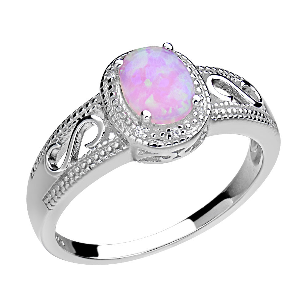 Lab-Created Oval Pink Opal Sterling Silver Halo Women Wedding ...