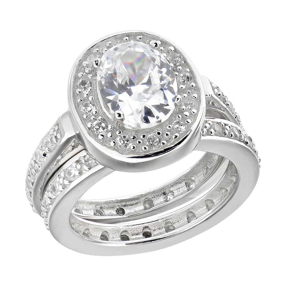Oval CZ Sterling Silver W Eternity Band Engagement Wedding