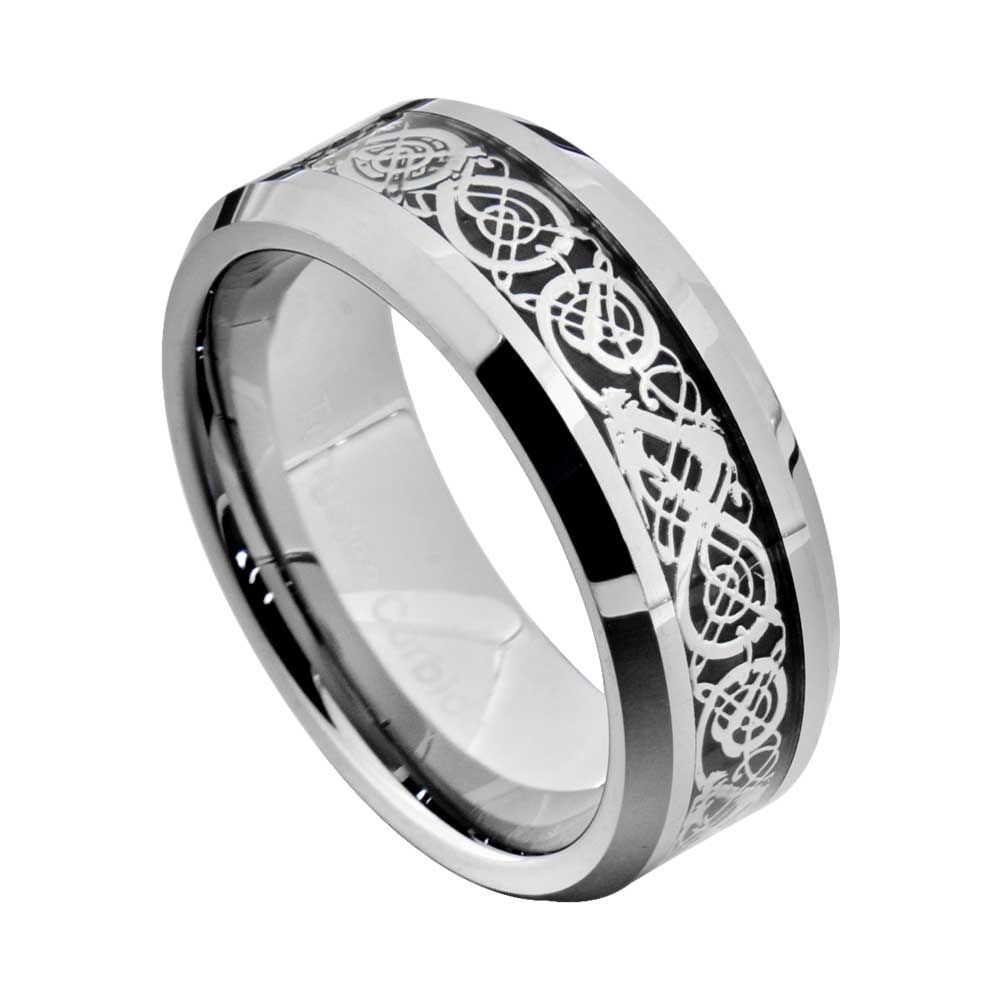 Tungsten Carbide Silver Gold Dragon Celtic Scroll Inlay